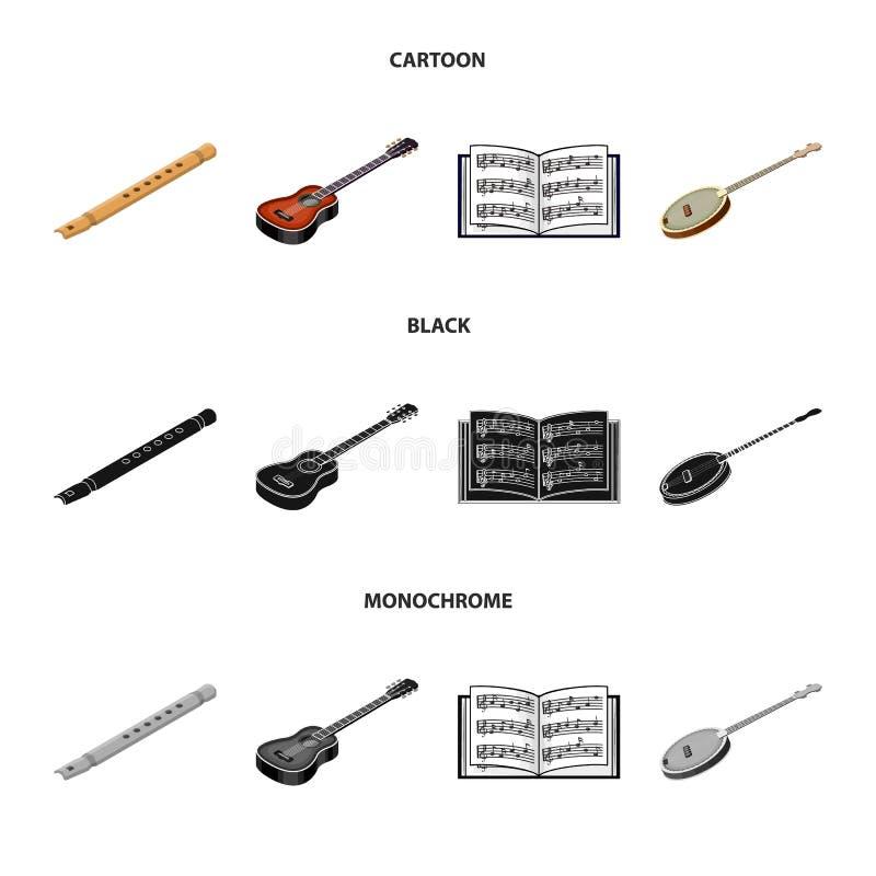 Bande dessinée d'instrument de musique, noir, icônes monochromes dans la collection d'ensemble pour la conception Instrument de f illustration de vecteur