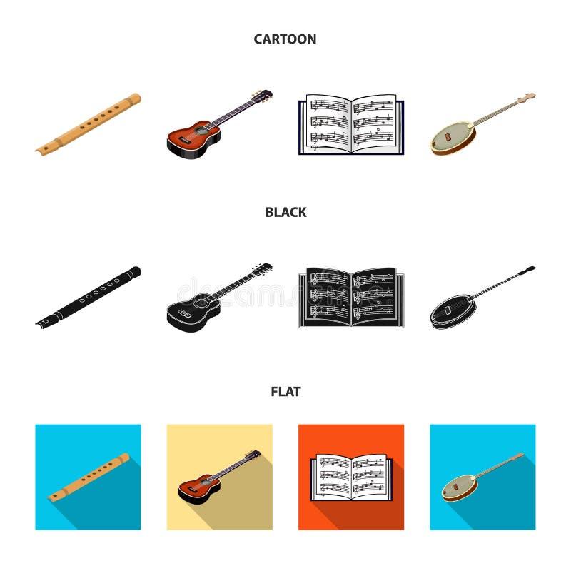 Bande dessinée d'instrument de musique, noir, icônes plates dans la collection d'ensemble pour la conception Vecteur isométrique  illustration de vecteur
