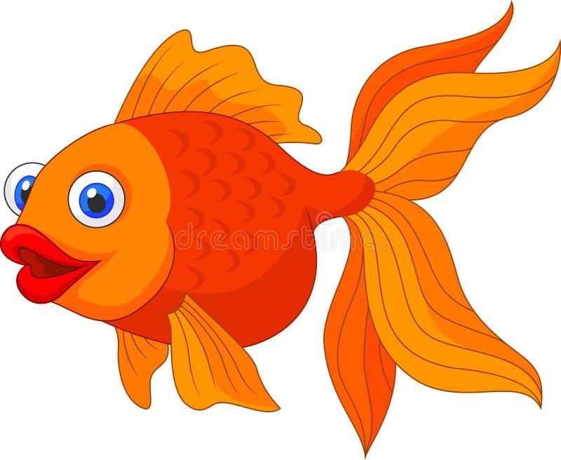 Bande dessinée d'or mignonne de poissons illustration libre de droits