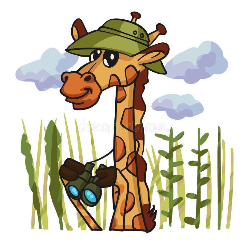 Bande dessinée d'observateur d'oiseau de girafe illustration libre de droits