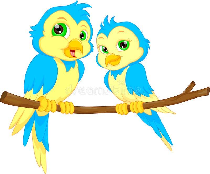 bande dessinée d'oiseaux de couples illustration stock