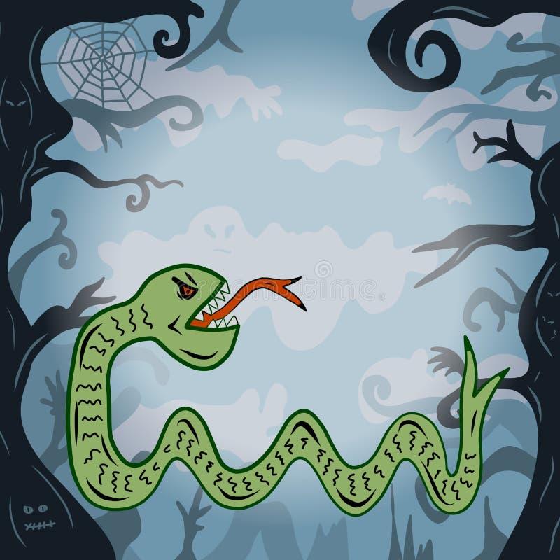 Bande dessinée d'un monstre de serpent vert dans une forêt mauvaise fantasmagorique illustration libre de droits