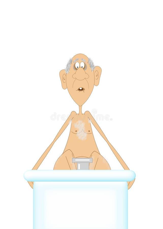 Bande dessinée d'un vieil homme s'abaissant dans un bain chaud illustration stock