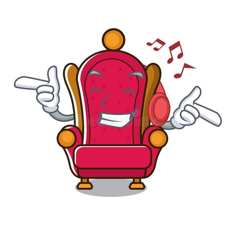 Bande dessinée de écoute de mascotte de trône de roi de musique illustration de vecteur