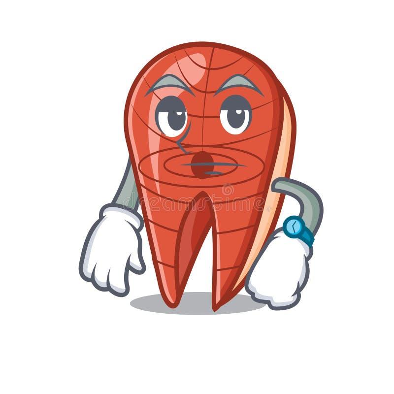 Bande dessinée de attente de mascotte de tranche de poissons illustration de vecteur
