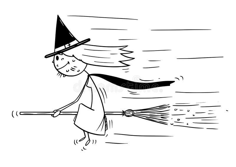 Bande dessinée de avec la séance volante sur le balai illustration libre de droits
