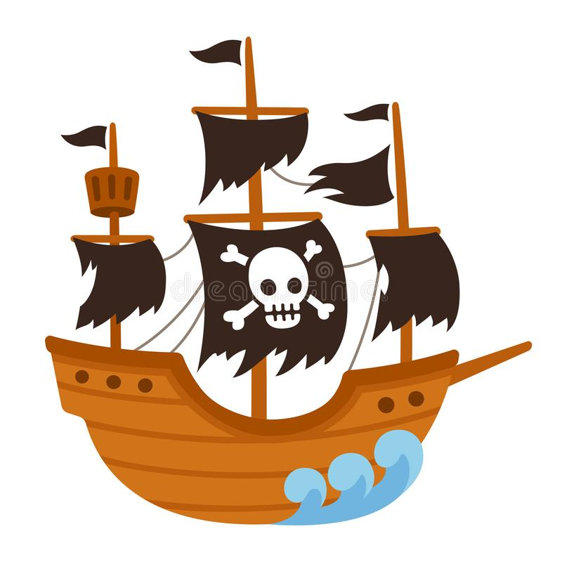 Bande dessinée de bateau de fantôme de pirate illustration libre de droits
