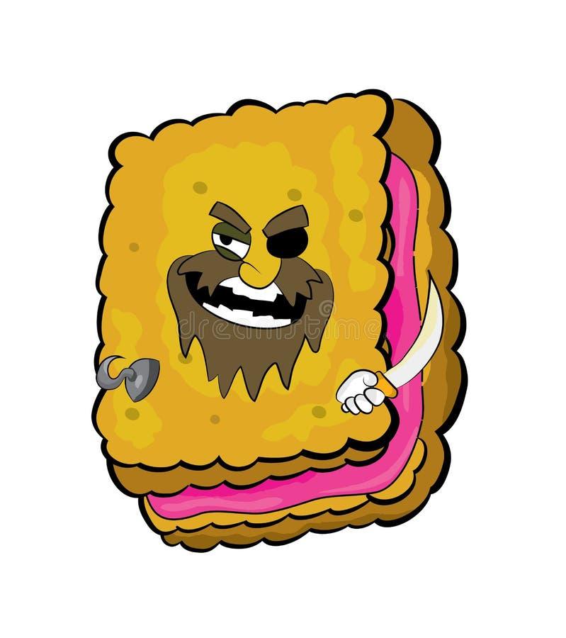 Bande dessinée de biscuit de pirate illustration stock