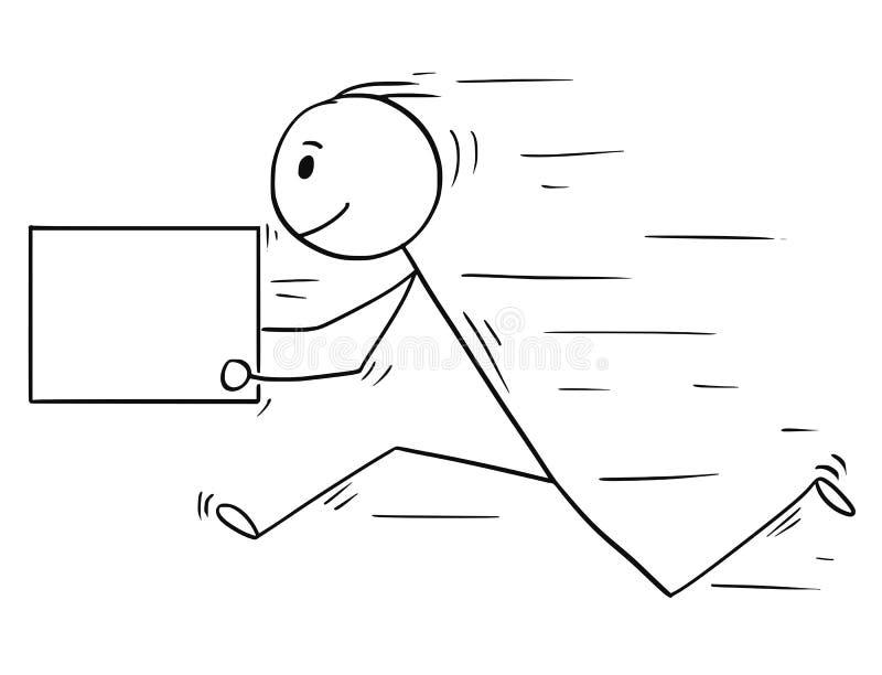 Bande dessinée de boîte de la livraison de l'homme ou de Running Fast With d'homme d'affaires, utilisable en tant que signe vide  illustration libre de droits