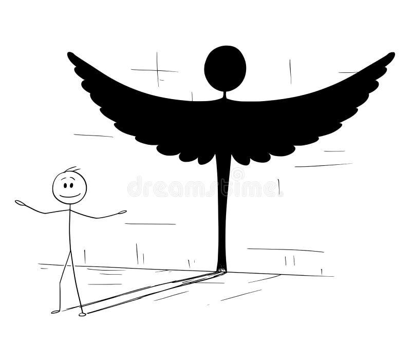Bande dessinée de bonne ombre de moulage d'homme ou de personne dans la forme de l'ange illustration stock