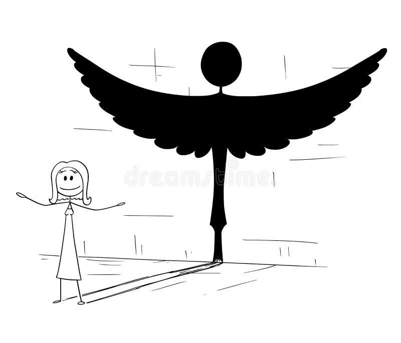 Bande dessinée de bonne ombre de moulage de femme ou de personne dans la forme de l'ange illustration stock