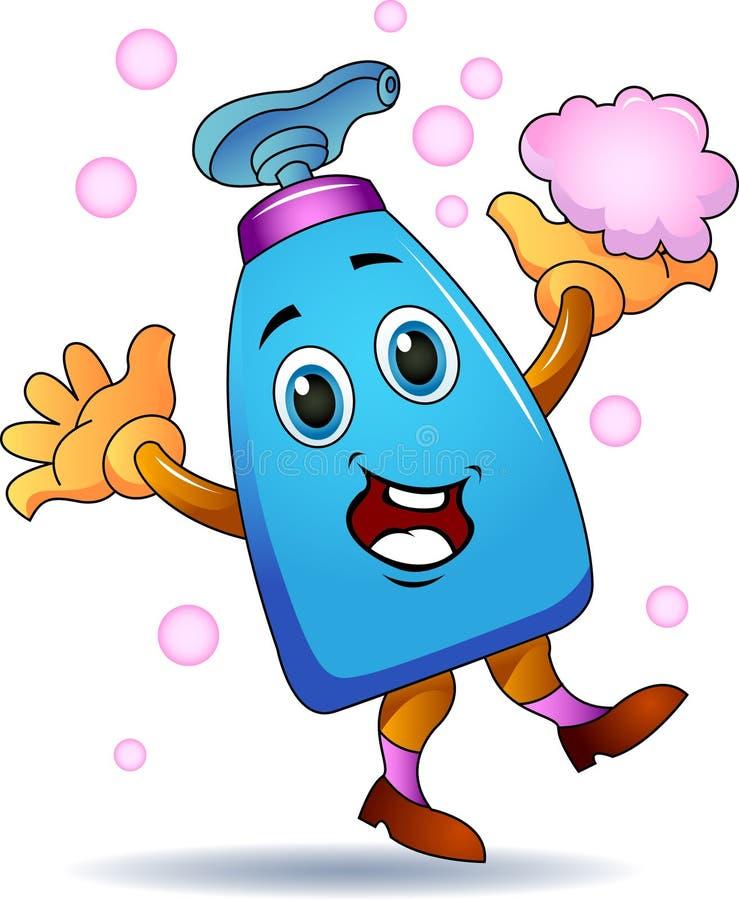 Bande dessinée de bouteille de gel de lavage de main illustration stock