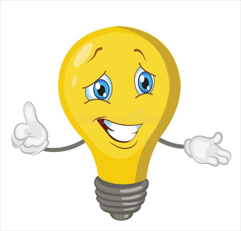Bande dessinée de caractère d'ampoule illustration stock