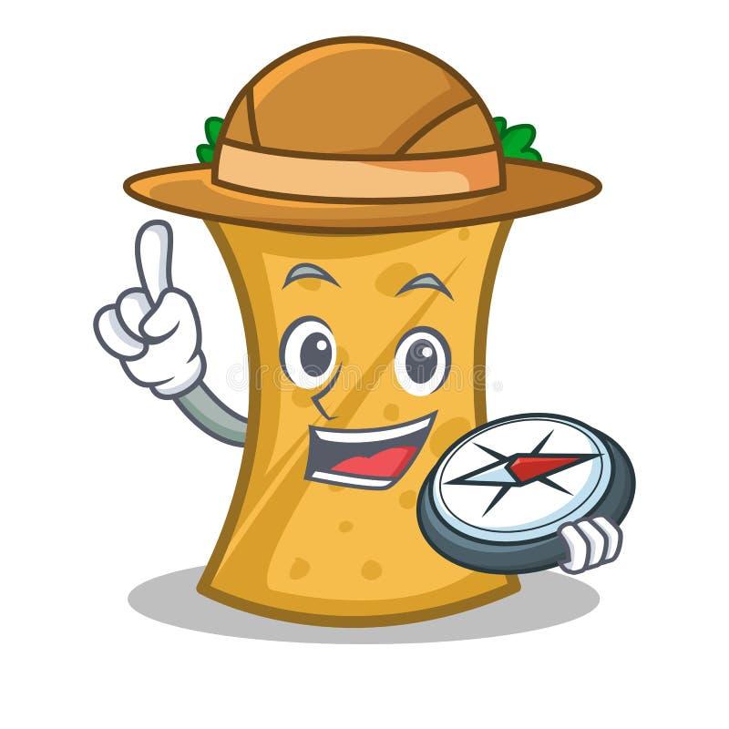 Bande dessinée de caractère d'enveloppe de chiche-kebab d'explorateur illustration stock
