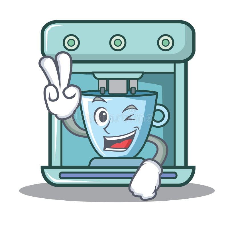 Bande dessinée de caractère de fabricant de café de deux doigts illustration libre de droits