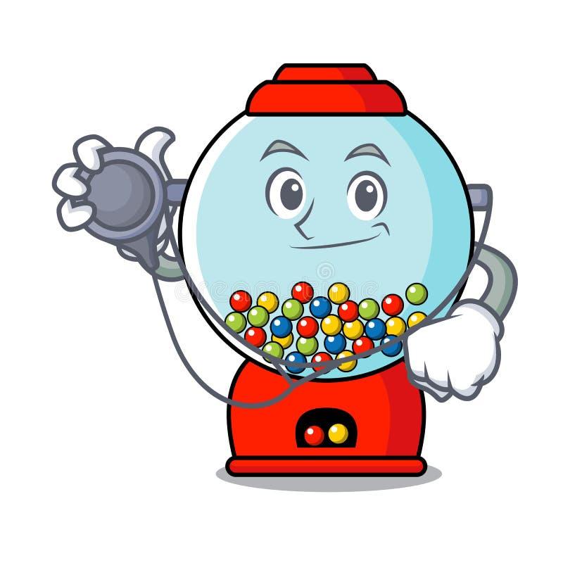 Bande dessinée de caractère de machine de gumball de docteur illustration stock