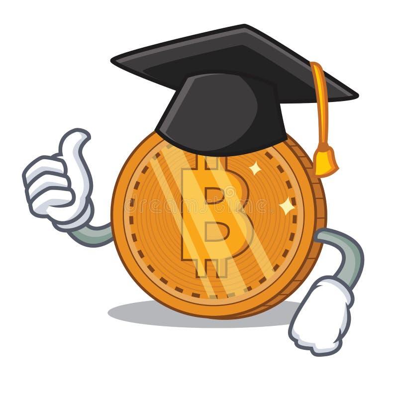 Bande dessinée de caractère de pièce de monnaie de bitcoin d'obtention du diplôme illustration libre de droits