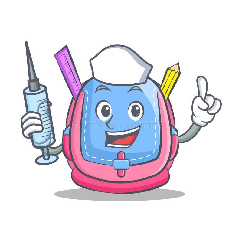 Bande dessinée de caractère de sac d'école d'infirmière illustration libre de droits