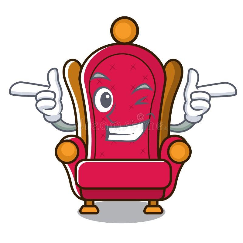 Bande dessinée de caractère de trône de roi de clin d'oeil illustration de vecteur