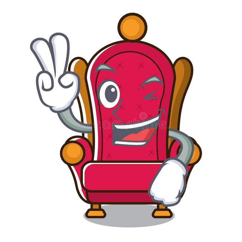 Bande dessinée de caractère de trône de roi de deux doigts illustration libre de droits