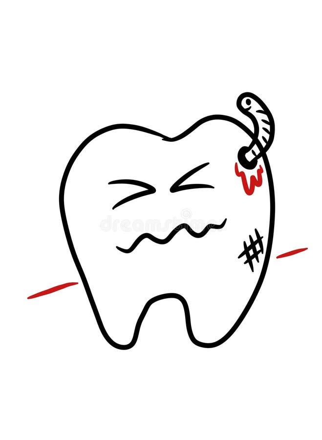 Bande dessinée de carie dentaire illustration de vecteur