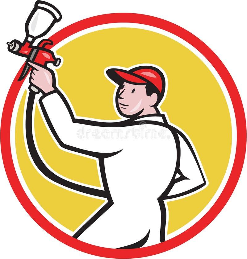 Bande dessinée de cercle de côté de Spray Paint Gun de peintre illustration libre de droits