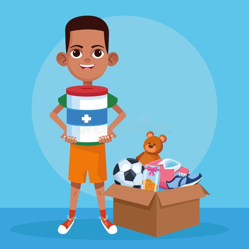 Bande dessinée de charité de donation d'enfant illustration libre de droits