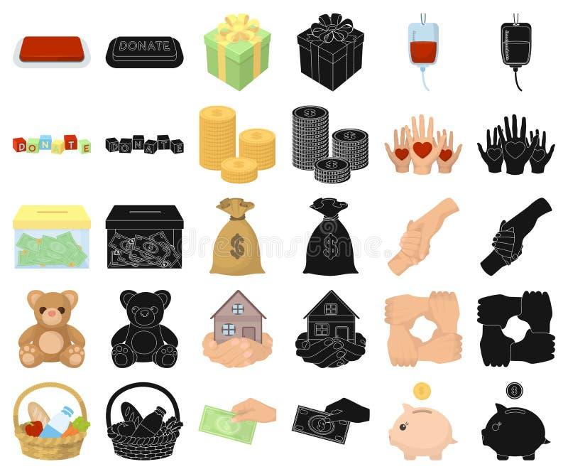 Bande dessinée de charité et de donation, icônes noires dans la collection réglée pour la conception Illustration de Web d'action illustration de vecteur