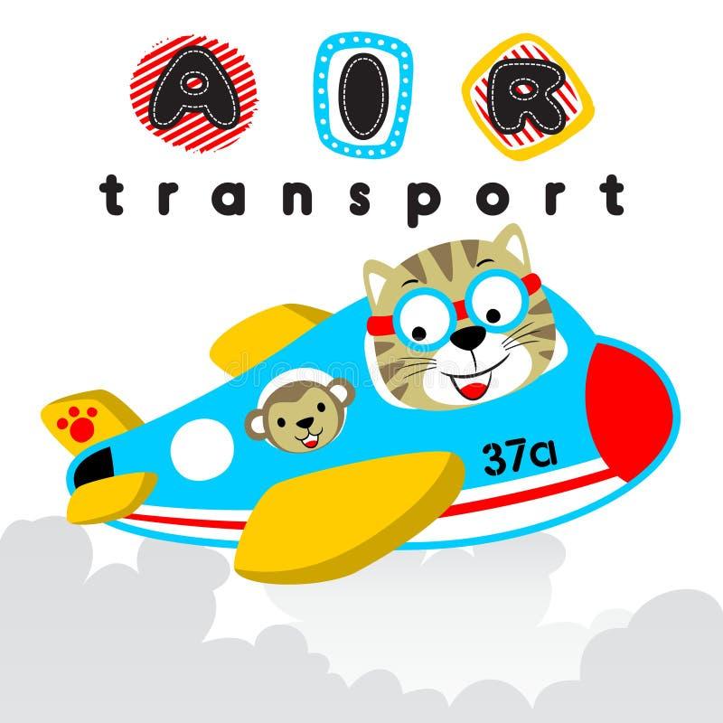 Bande dessinée de chat avec le singe sur l'avion illustration libre de droits