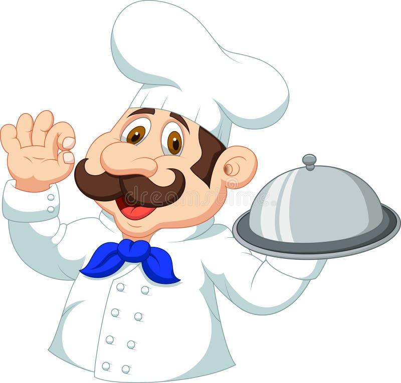 Bande dessinée de chef avec le signe correct illustration stock