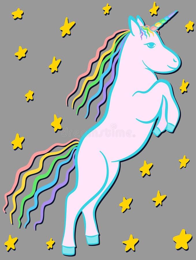 Bande dessinée de cheval de licorne d'arc-en-ciel sur un fond étoilé, affiche de crèche illustration stock