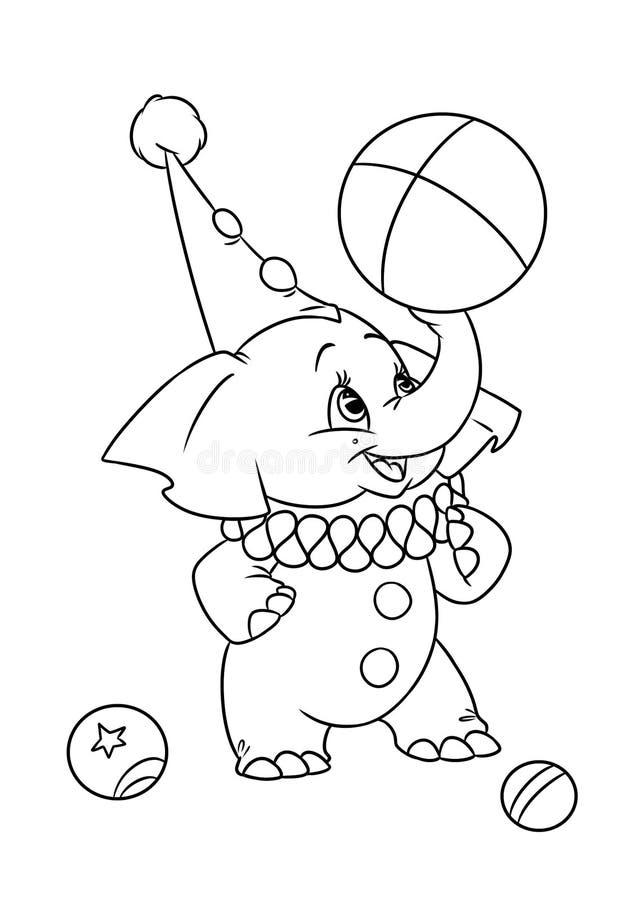 Bande dessinée de cirque d'éléphant de coloration de page illustration de vecteur