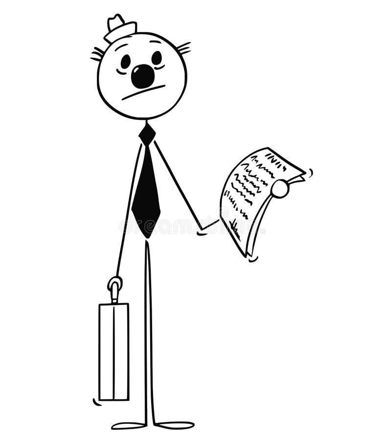 Bande dessinée de clown Businessman dans le costume illustration de vecteur