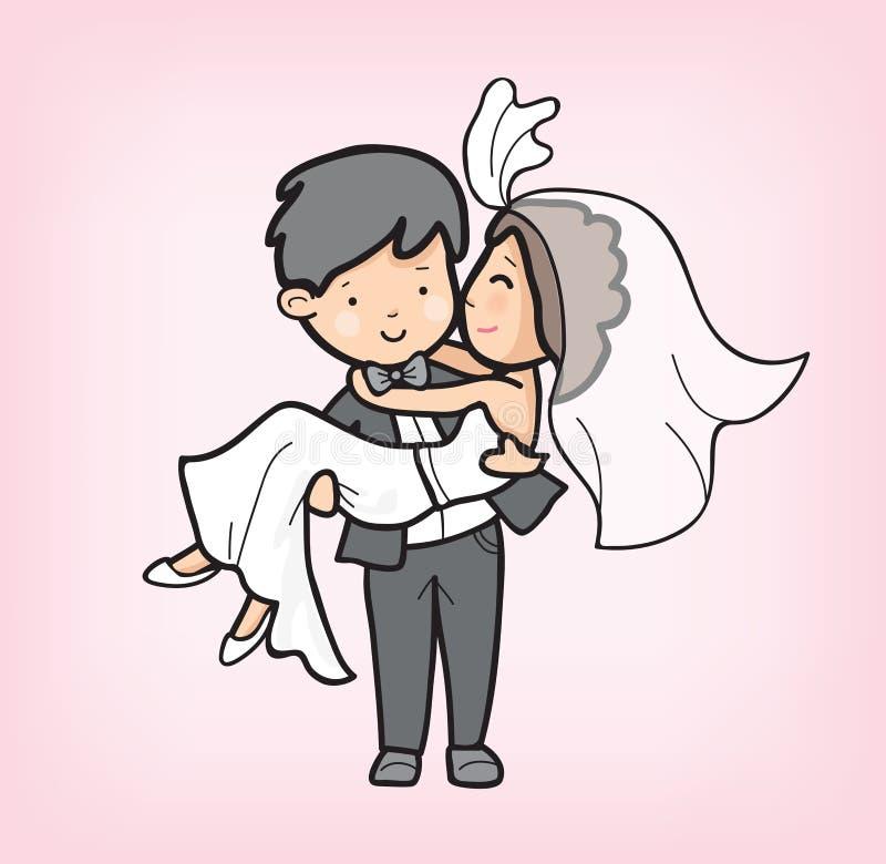 Bande dessinée de couples dans le jour du mariage images stock
