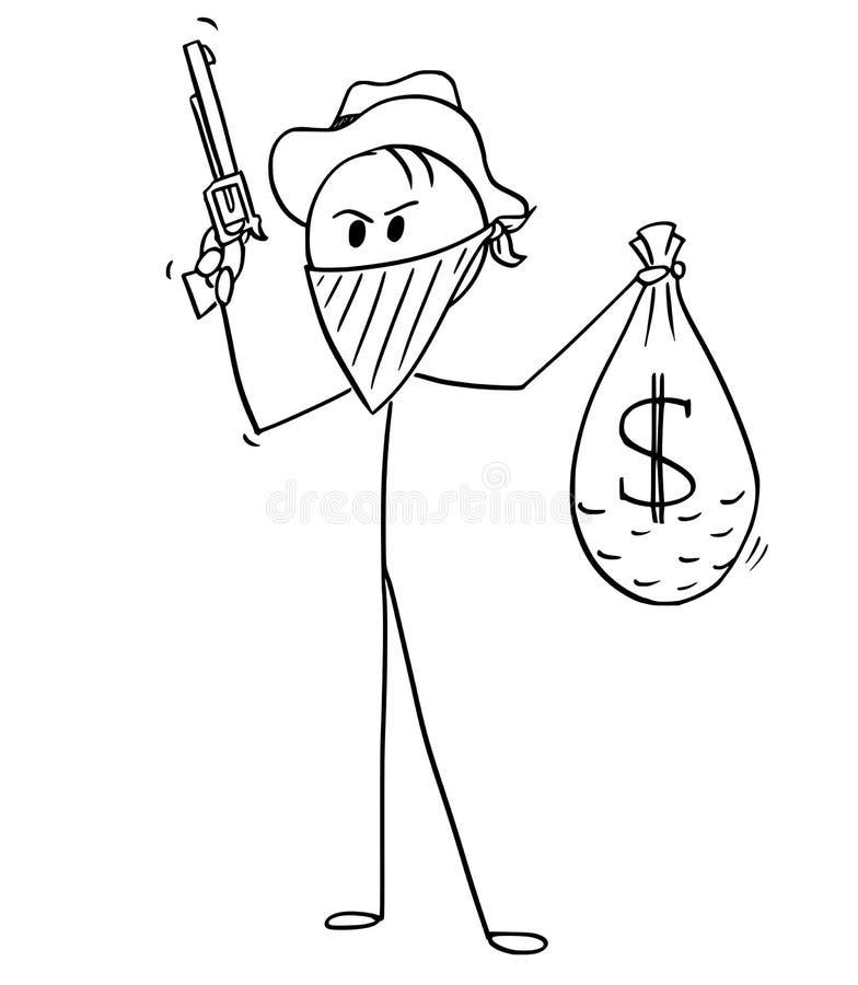 Bande dessinée de cowboy masqué Robber avec le sac de l'argent et de l'arme à feu volés du dollar illustration de vecteur