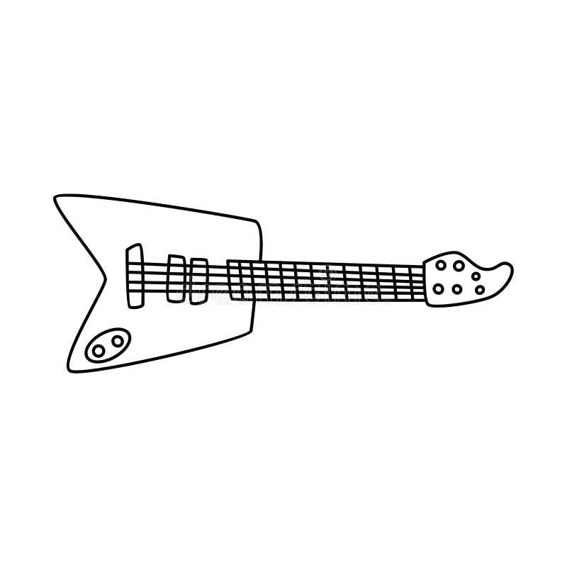 bande dessinée de croquis de griffonnage d'instrument de musique de guitare illustration stock