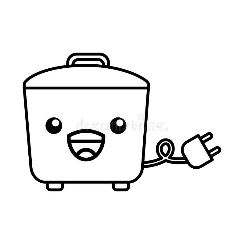 Bande dessinée de cuiseur de riz de Kawaii illustration libre de droits