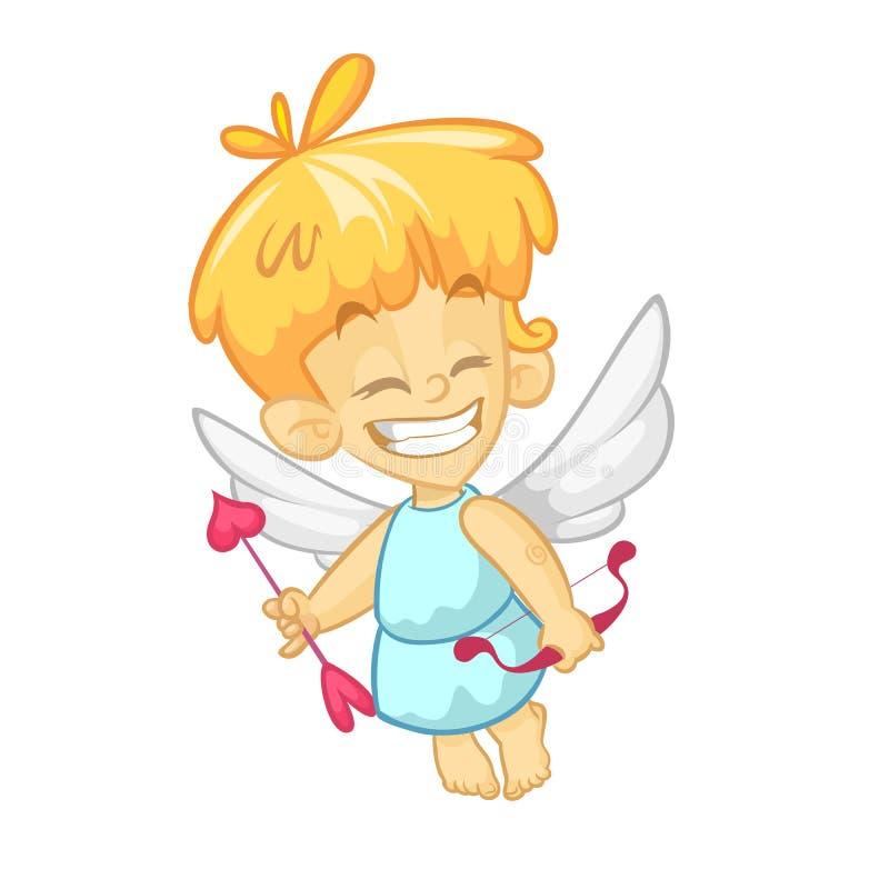 Bande dessinée de cupidon de bébé Illustration de cupidon de vecteur d'isolement illustration libre de droits