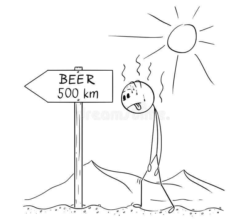 Bande dessinée de désert traversant assoiffé de marche de l'homme et de bière trouvée de signe 500 kilomètres ou kilomètres illustration libre de droits