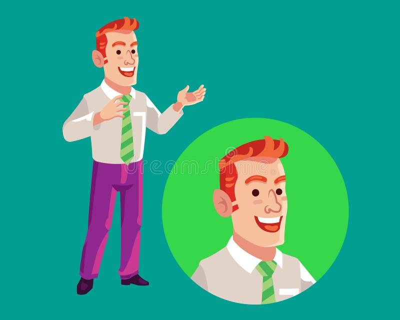 Bande dessinée de Delivering Speech Flat d'homme d'affaires illustration de vecteur