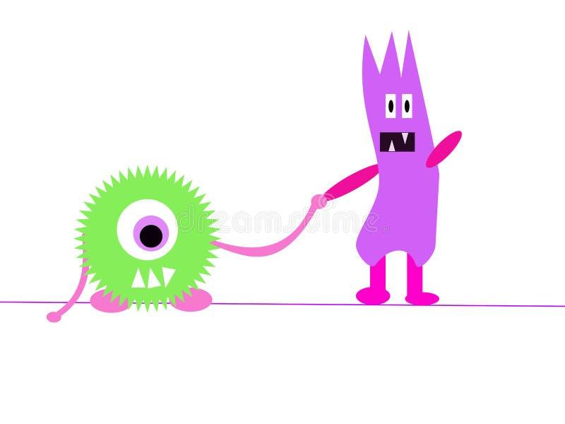 Bande dessinée de deux amis de monstre illustration libre de droits