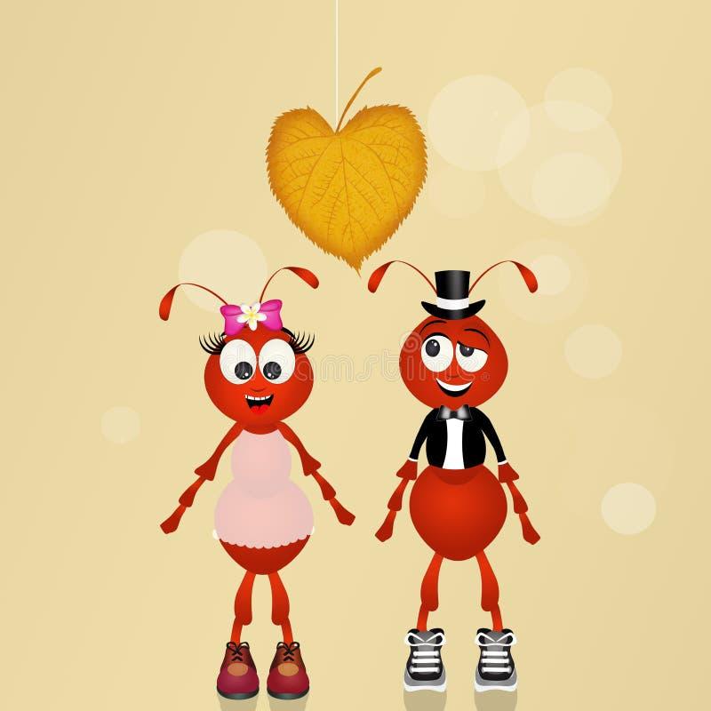 Bande dessinée de deux conjoints de fourmis illustration libre de droits