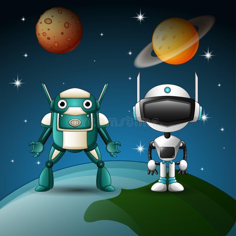 Bande dessinée de deux robots ensemble dans l'espace illustration libre de droits