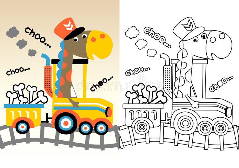 Bande dessinée de Dino sur le train jaune illustration libre de droits