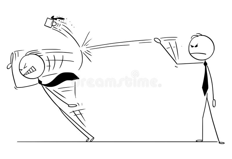Bande dessinée de discours du ` s d'Ending Another Man d'homme d'affaires en jetant la tasse illustration stock