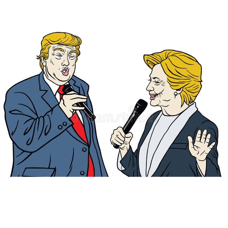Bande dessinée de Donald Trump Vs Hillary Clinton de candidats présidentiels illustration stock