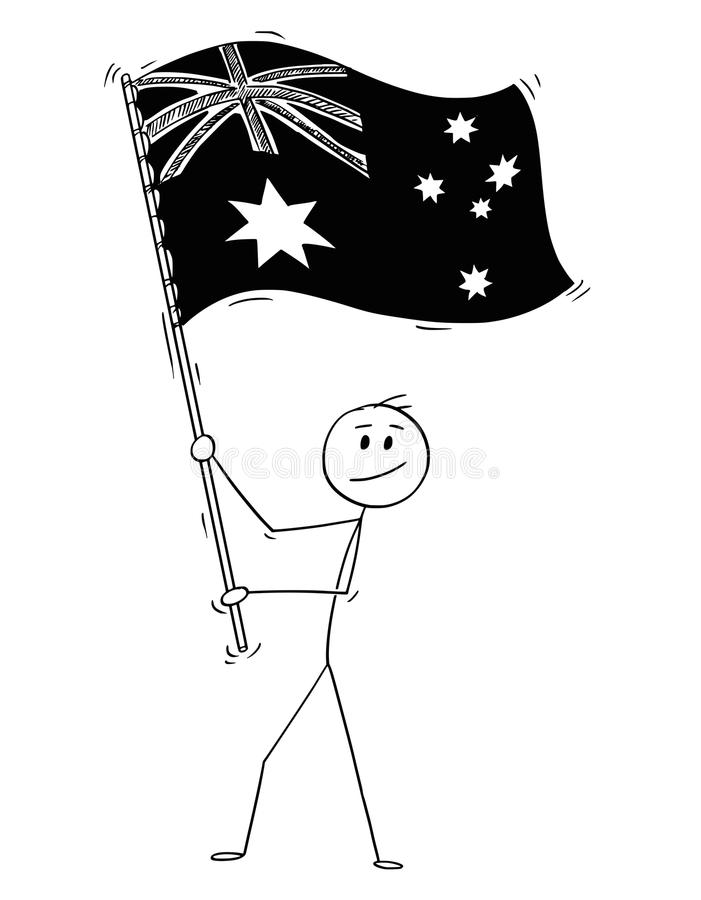 Bande dessinée de drapeau de ondulation de l'homme de Commonwealth d'Australie illustration stock