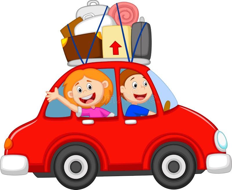 Bande dessinée de famille voyageant avec la voiture illustration de vecteur