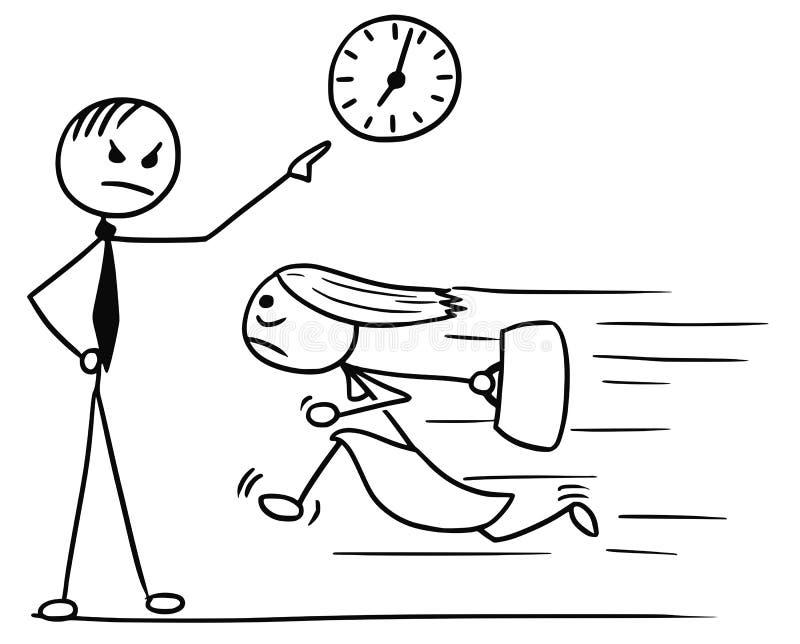 Bande dessinée de femme fonctionnant tard pour le travail et son patron Pointing à illustration de vecteur