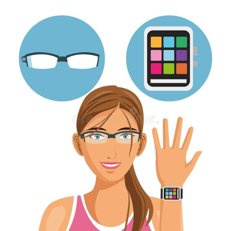 Bande dessinée de fille et conception portable de technologie illustration de vecteur